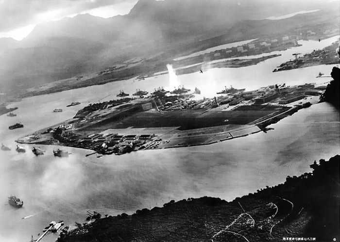 This Japanese aerial photograph of Pearl Harbor is quite unsettling.