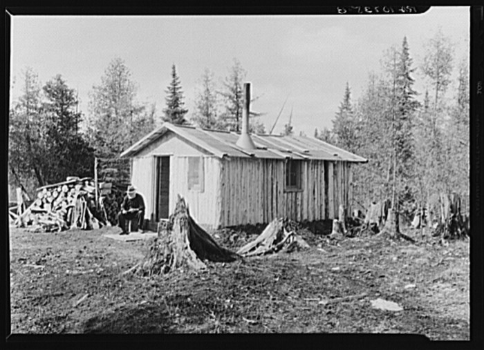 5) John Nygren sits in front of his shack near Iron River, April 1937.