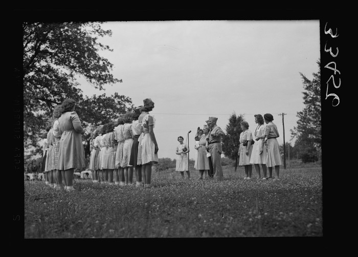 11. Students gather for the awarding of the Victory Corps insignia at Randolph Henry High School in Keysville, June 1943.