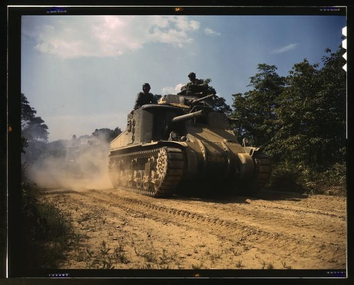 9. M3 tank rolling on.