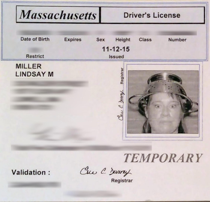 10. This woman convinced the DMV to let her wear a colander on her head.