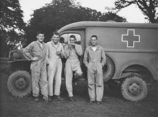 2. Medical vehicle and team.