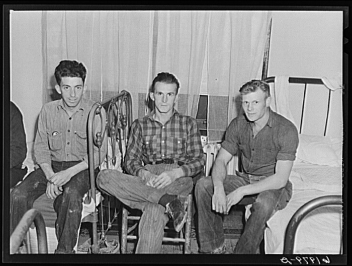 """7. These men shared a room with three other men at """"Mrs. Jones'"""" boardinghouse, 1940."""