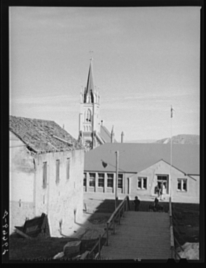 "12. ""School and church. Virginia City, Nevada."""