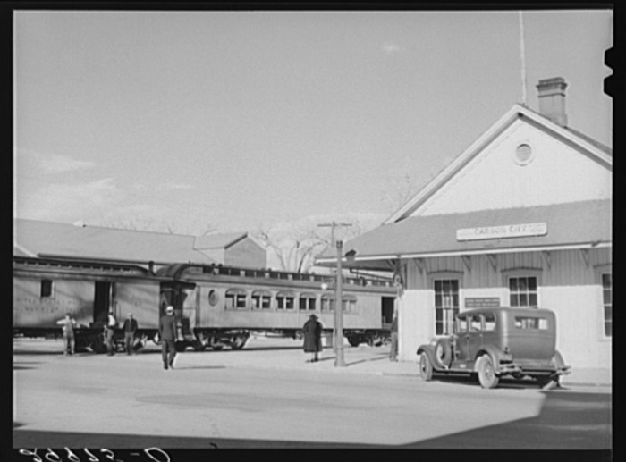 "15. ""Railroad station. Carson City, Nevada."""