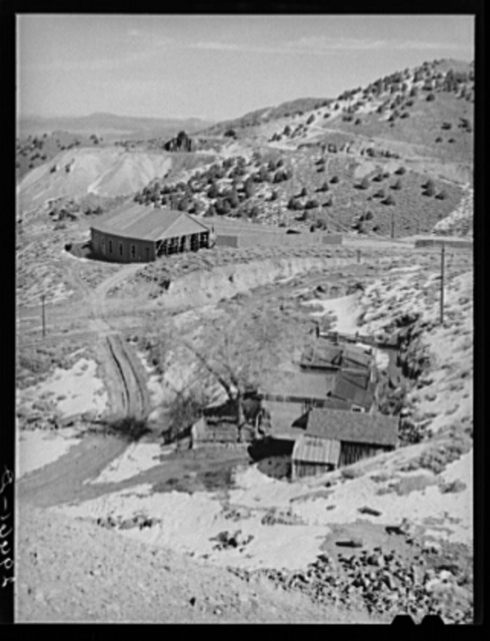 7. A group of houses and abandoned mines in Virginia City, Nevada - 1940.