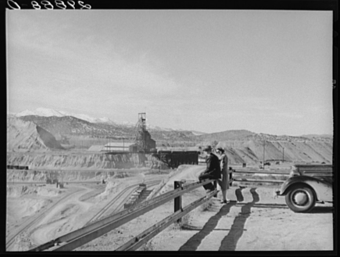 9. In this photo, tourists are viewing an open-pit copper mine in Ruth, Nevada.