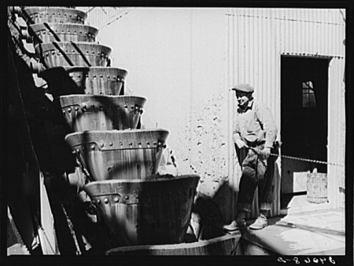 5. A gold dredge worker is watching the buckets as they lift ore into the dredge - Nye County, Nevada.