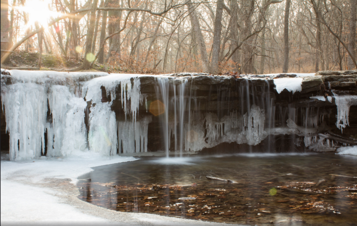 14. This waterfall at Platte River State Park is also still in the process of freezing, looking just as magical as it does in the summer.