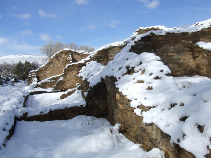 8. Aztec ruins, in northwestern New Mexico, carpeted in snow.