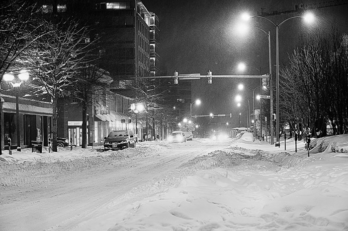 21. A rare moment of quiet on Wilson Boulevard in Arlington as snow makes the streets impassable.