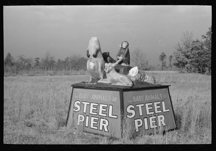 14. A slightly disturbing roadside advertisement for Steel Pier in Atlantic City.