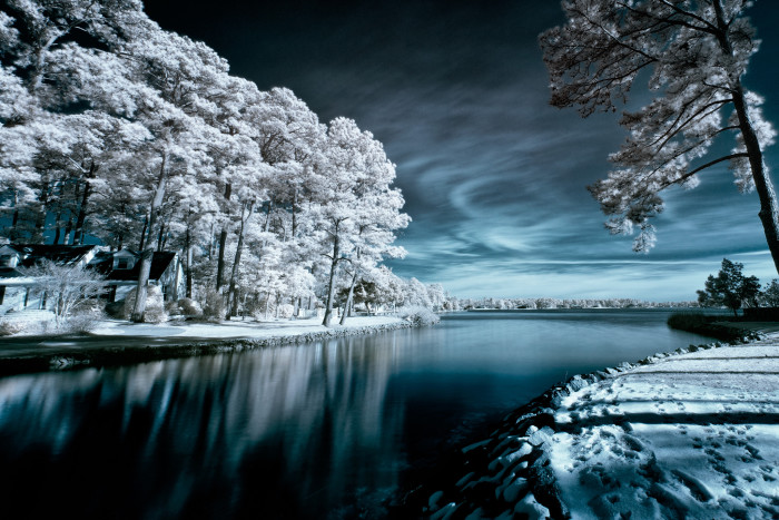 17. Shot with an infrared filter, this snowy scene in a Virginia Beach neighborhood provides a surreal effect that is breathtaking.