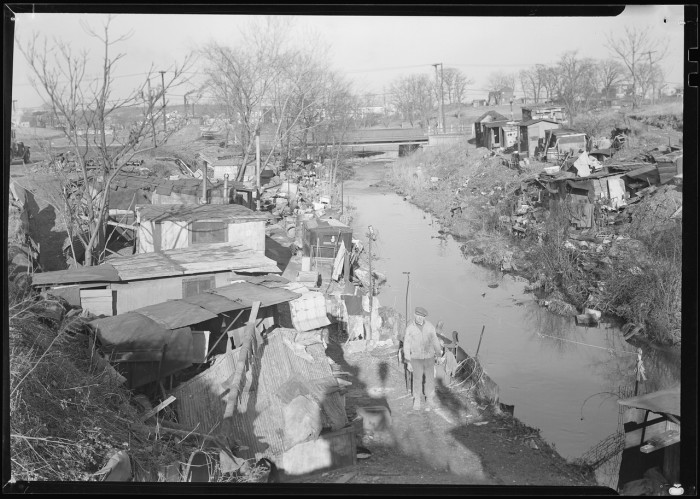 19. The shanty homes of textile workers on the outskirts of Paterson, 1936.