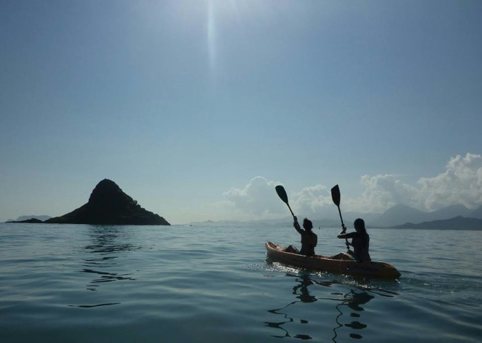 2) This gorgeous photograph of kayakers off Oahu's windward coast.