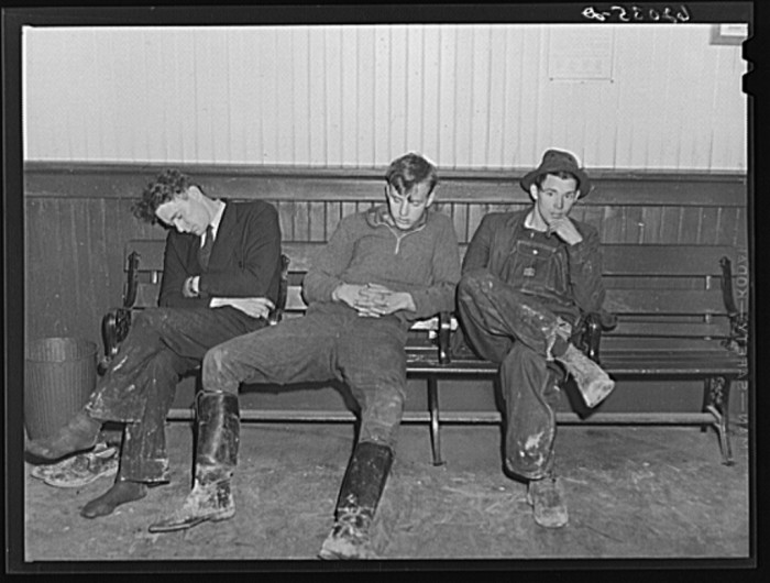 9. Out-of-towners sleep at the train station after arriving in Radford looking for work, 1940.