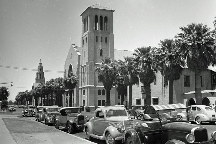 22. A row of cars parked near a church in Tucson in 1939. Does anyone recognize the church?