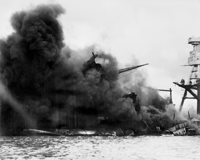 The USS Arizona, pictured below, was the only ship that fully sank, and was never recovered.