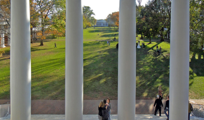 "NOW: This view of ""the lawn"" from the steps of the Rotunda at the University of Virginia shows how, today, it is a social gathering place for students."