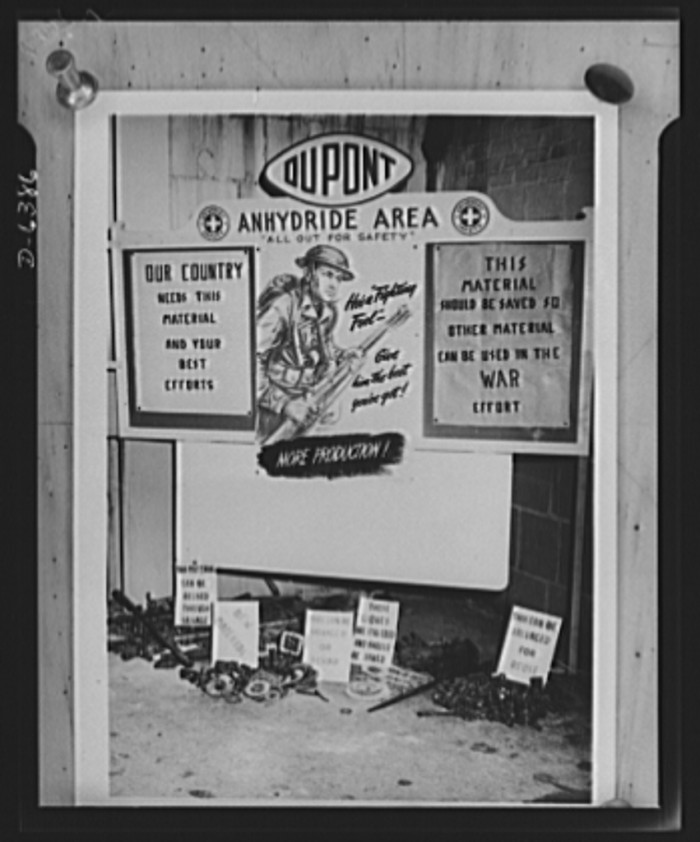 14. A display in a store window reminds the residents of Waynesboro about the importance of conserving and recycling worn-out parts and supplies during the war, 1942.