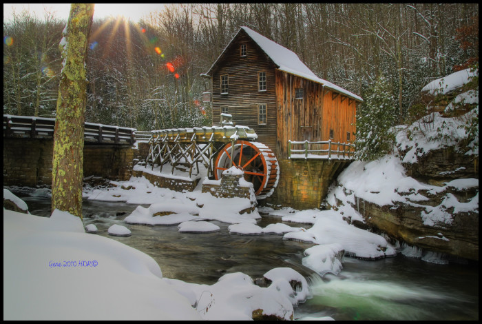 9. This gorgeous view of the gristmill at Babcock State Park covered in snow.