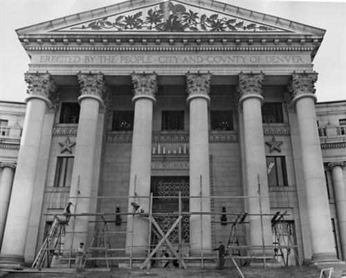"7. ""Construction for Civic Center Christmas Lights"" (taken sometime between 1925-1935)."