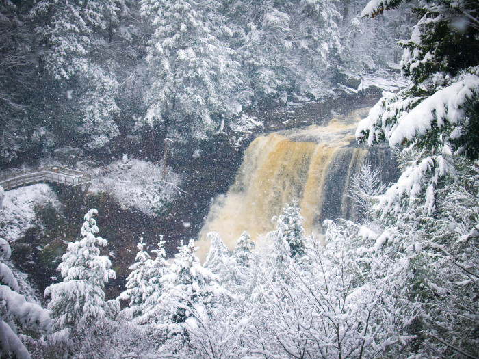 7. This shot of Blackwater Falls when the river was looking cold and flooded.