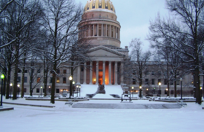 11. This chilly view of the gold dome of the state Capitol in Charleston.
