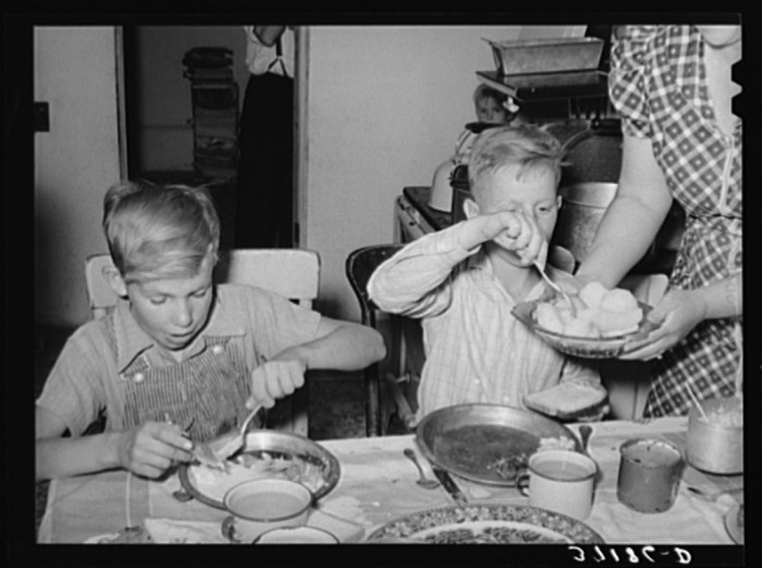 5. When you're a farm kid in 1940, dinner is tasty!