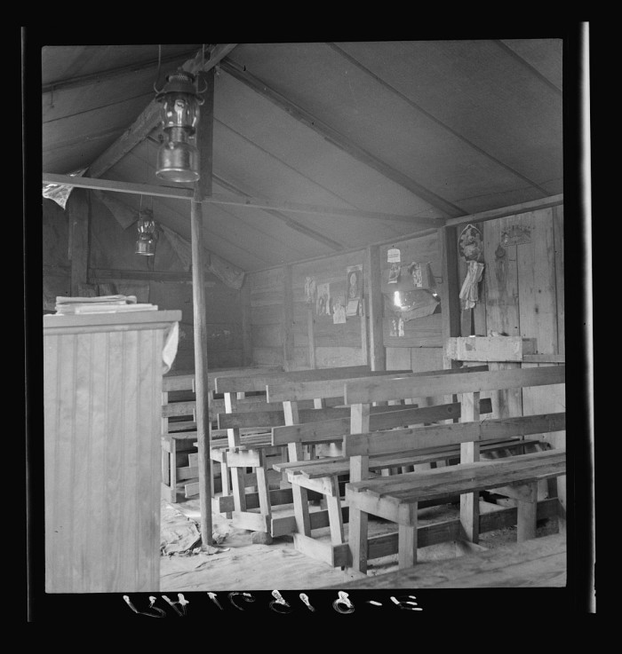 8. People still turned to God wherever they could. This was a church tent on the roadside for displaced laborers in Coryell. 1937.