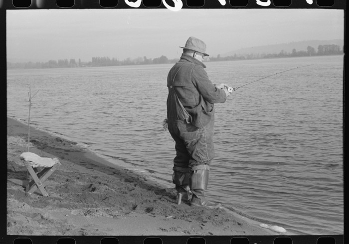17. A fisherman on the banks of the Columbia River in 1941.