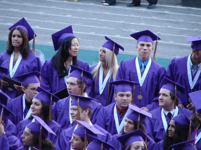 10. Graduation was held on the school football field.