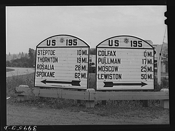 9. The highway sign at Colfax in Whitman County.