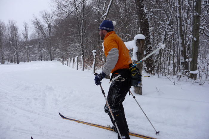 7. By skiing
