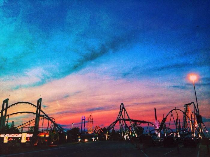 16. Sunset over Cedar Point Amusement Park in Sandusky, OH