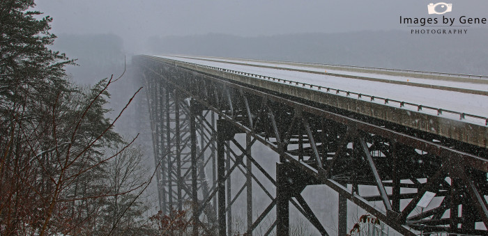5. This frozen picture of the New River Gorge Bridge in Fayetteville, which was for many years the world's longest single-span arch bridge.