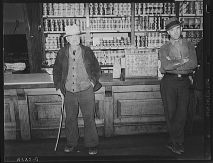 12. These miners are standing in a company store in Kempton 1939.