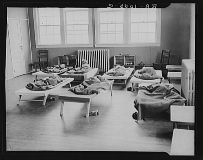 7. Here are some children taking a nap at a nursery school in Reedsville, 1935.