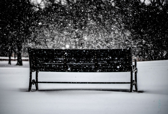 14. Snow is falling in Bluff Creek Park in Oklahoma City.