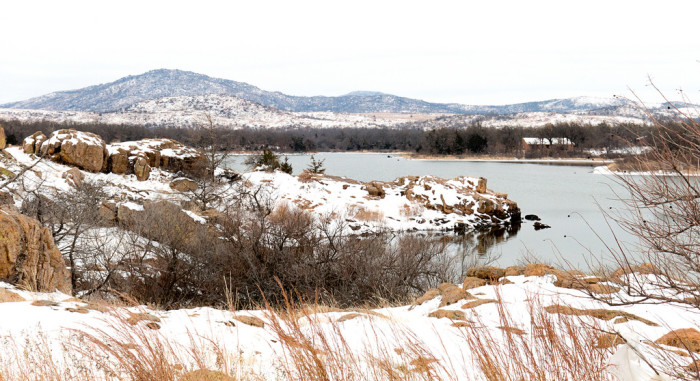 3. The snowy shore along Quanah Parker Lake looks spectacular in the winter.