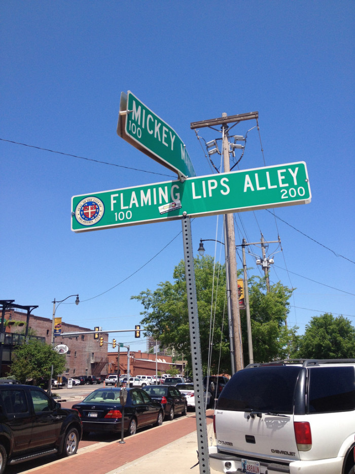 9. Where is Flaming Lips Alley and Mickey Mantle Drive?