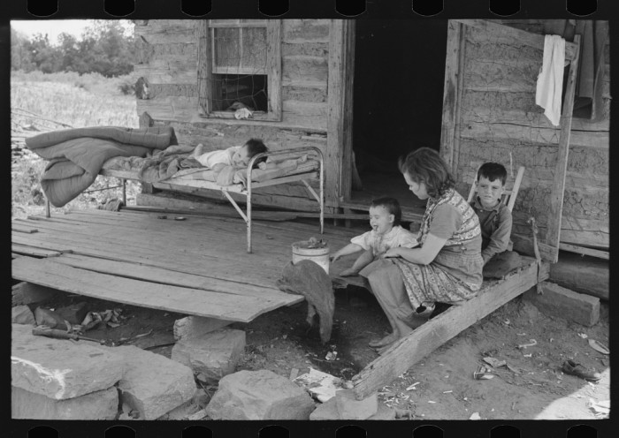 16. Front porch of a tenant farmer's house near Warner in 1939.