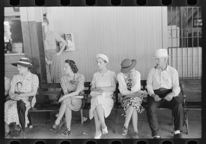4. These people were waiting for streetcars at a terminal in Oklahoma City in 1939.