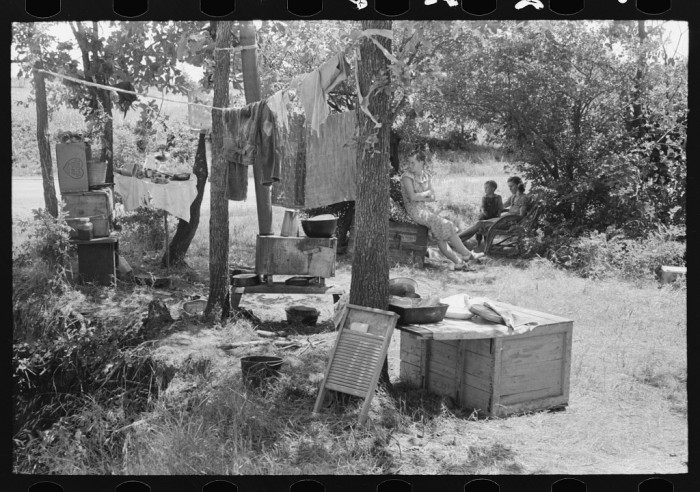 3. This camp by the roadside was near Spiro. This family did agricultural day labor to obtain funds to go to Arizona and California. The photo was captured in 1939.