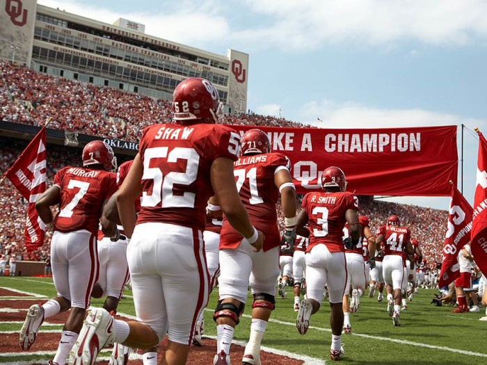 8. The years 1950, 1955, 1956, 1974,1975, 1985 and 2000, when one of our college football teams, The University of Oklahoma Sooners, became the national champions. The nation was in awe at our elite football program.