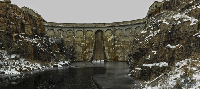 5. Lake Quanah Parker Dam in early February after a snow storm.