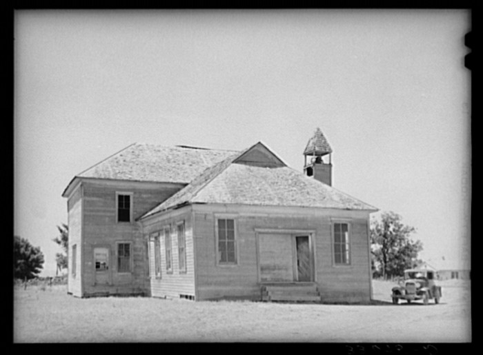 "9. ""Old schoolhouse in Akins, Oklahoma. This town was formerly a cotton ginning center as well as trading center for the surrounding farm community. There is no ginning done there now and it has assumed the status of a ghost town."""