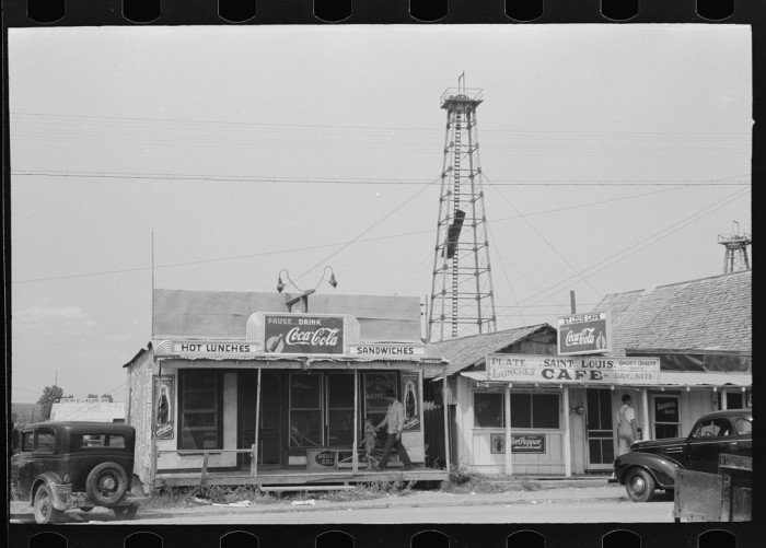 "19. ""Cafes on main street of Saint Louis, Oklahoma. This is a onetime oil boomtown."""