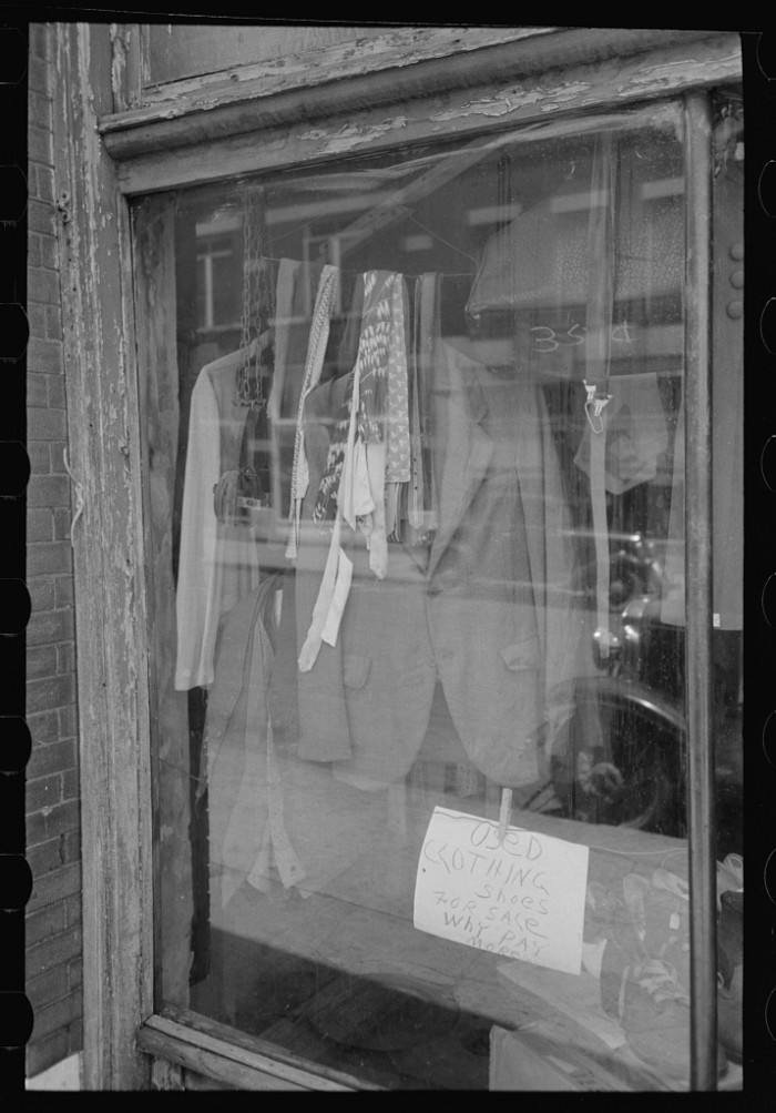 "11. ""Store window in farmer's marketing section of Muskogee, Oklahoma."""