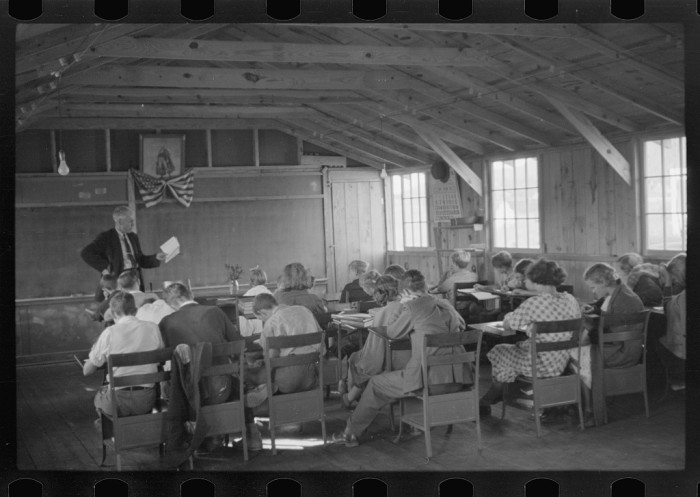 9. Children are taught in a one room school house in Red House.